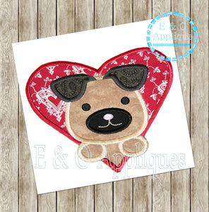 Puppy Heart Applique Design