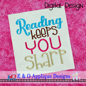Reading Keeps You Sharp Embroidery Design