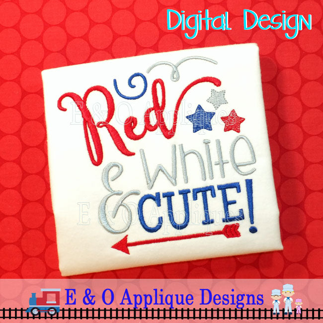 Red White & Cute Embroidery Design