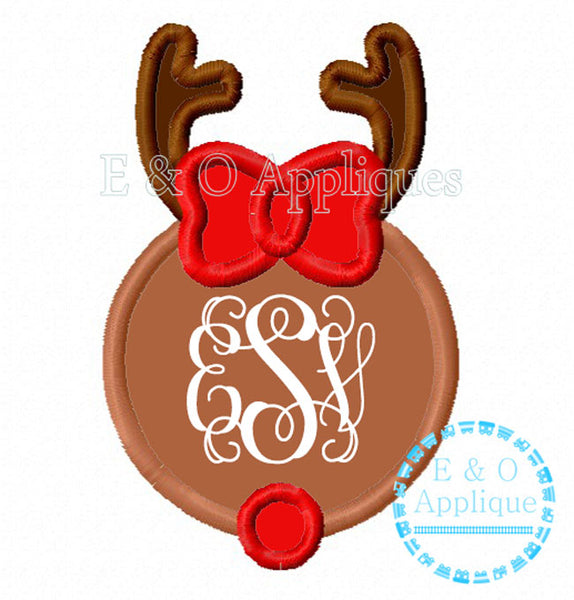 Reindeer Girl Monogram Frame Applique Design