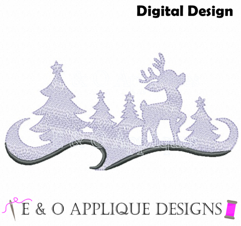 Reindeer Motif Fill Embroidery Design