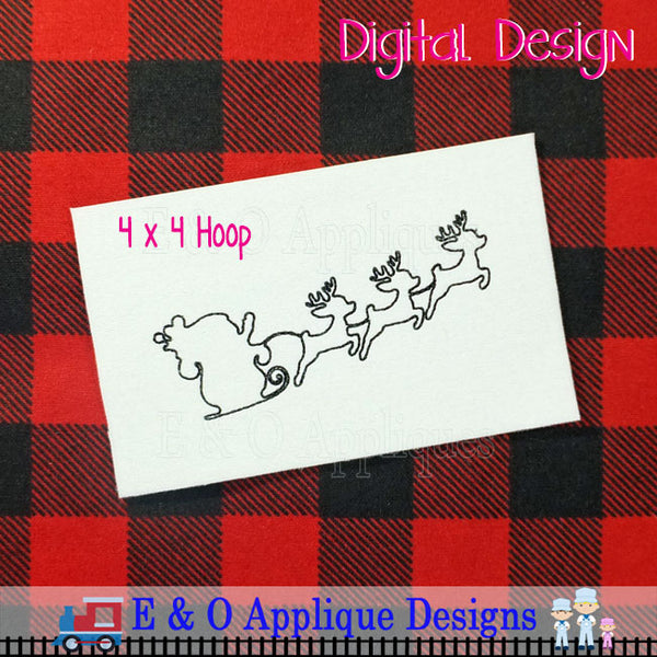 Santa Sleigh Bean Stitch Silhouette Embroidery Design