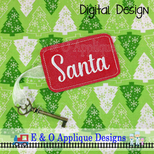 Santa Key and Blank Gift Tag In The Hoop Embroidery Design