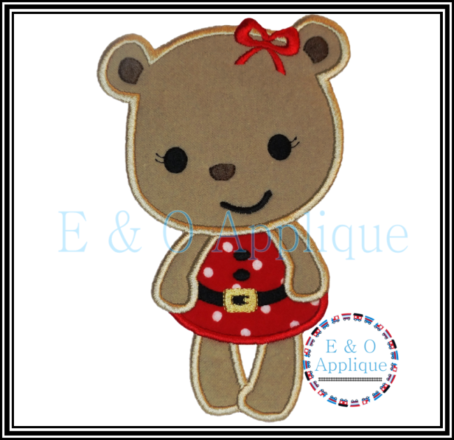 Santa Girl Bear Applique Design