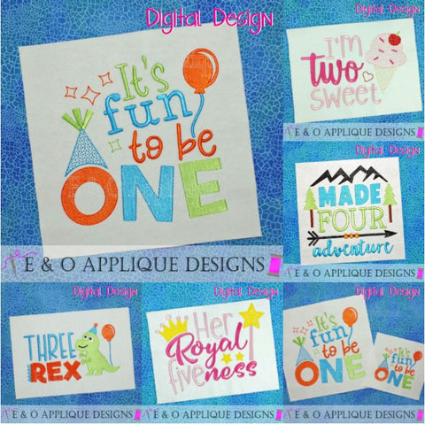 Birthday Saying Set Embroidery Design