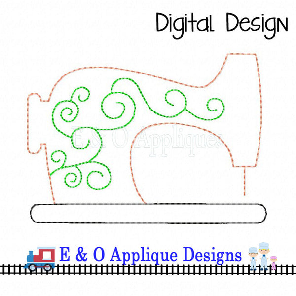 Vintage Sewing Machine Colorwork Embroidery Design
