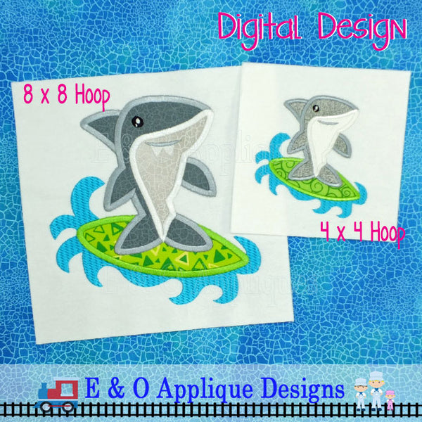 Shark Surfer Applique Design