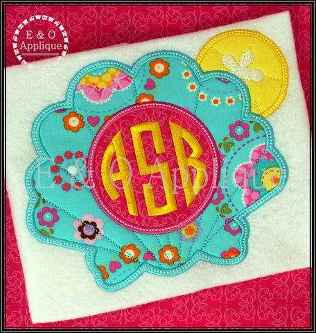 Seashell Monogram Applique Design