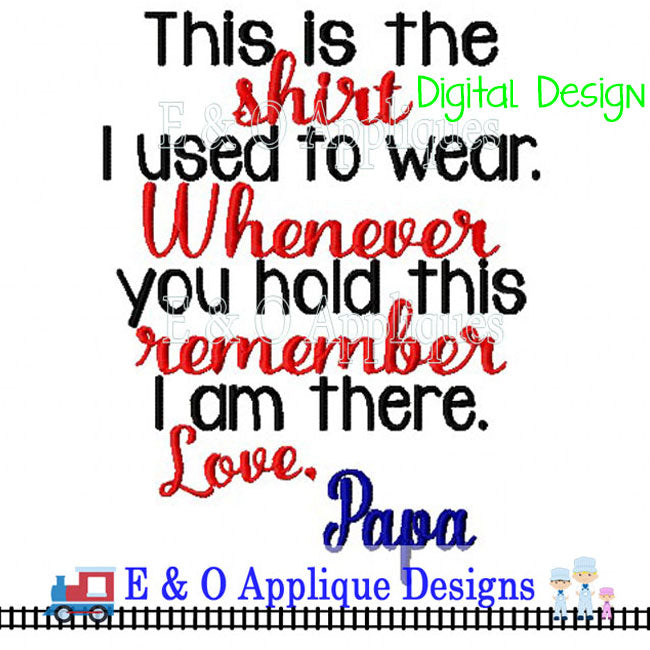 Shirt Saying Papa Digital Embroidery Design
