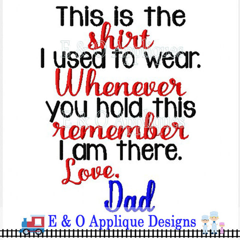 Shirt Saying Dad Digital Embroidery Design