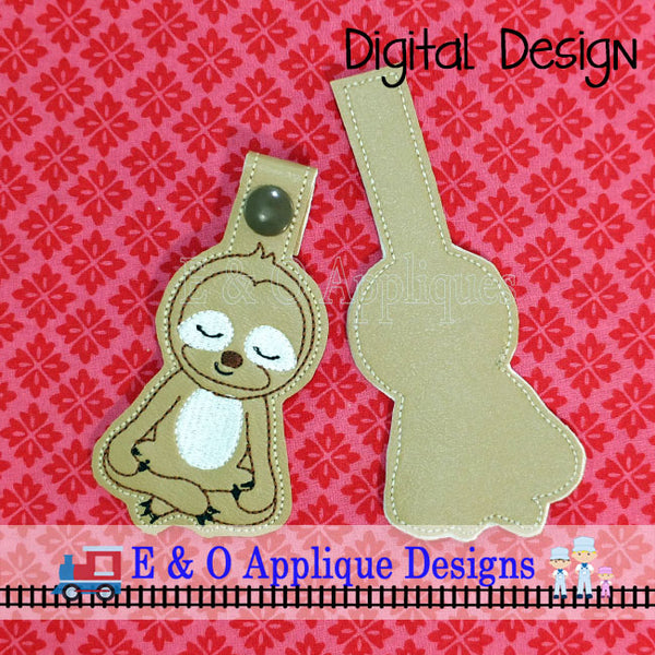 Sloth Meditating Snap Tab ITH Digital Embroidery Design