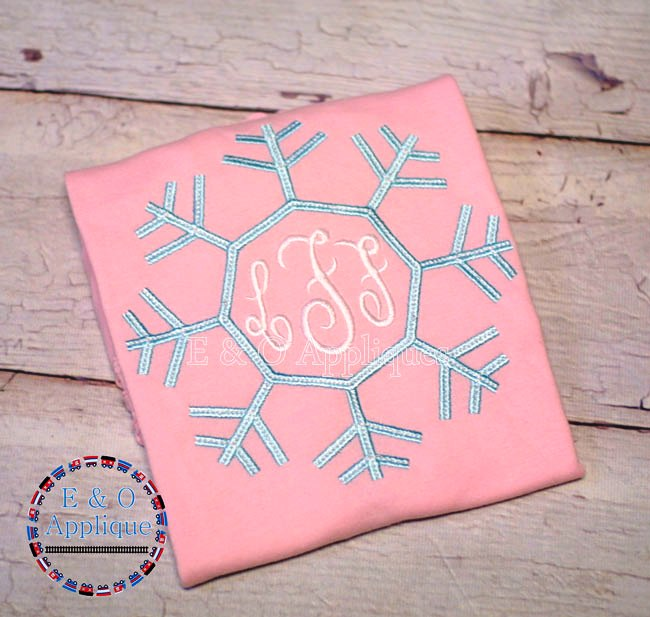 Snowflake Monogram Frame Embroidery Design