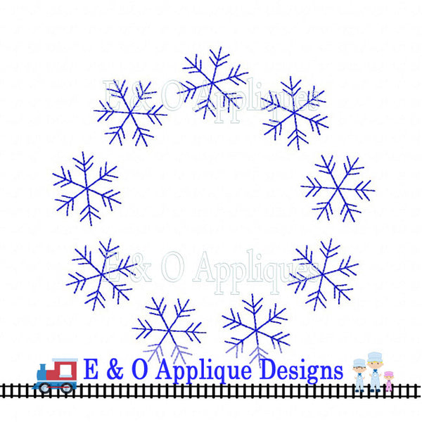 Snowflake Monogram Frame Digital Embroidery Design