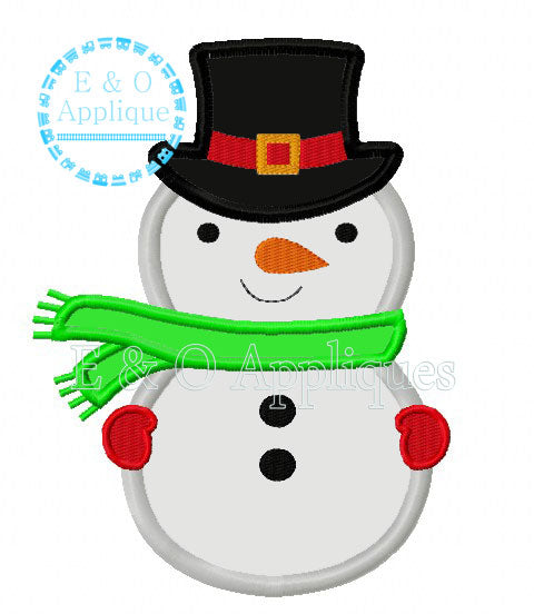 Snowman with Scarf Digital Applique Design
