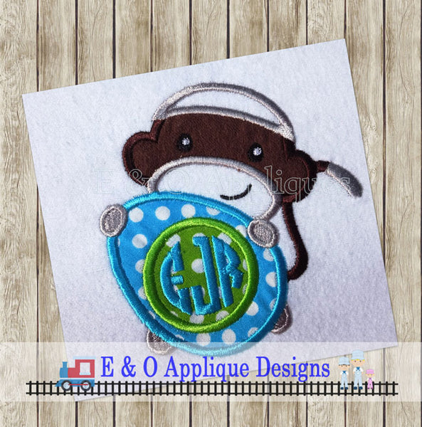 Sock Monkey Easter Egg Applique Design