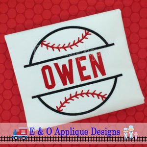 Split Baseball Applique Design