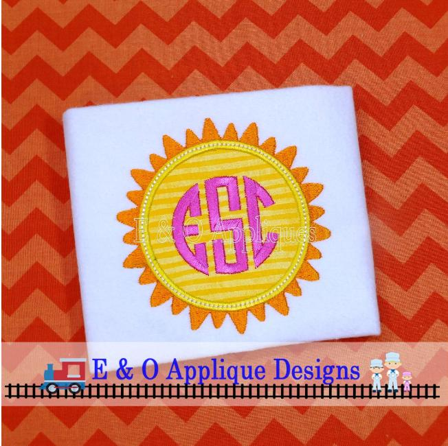 Sun Monogram Digital Applique Design
