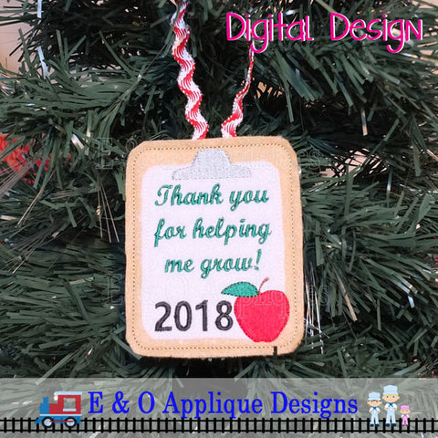 Teacher Ornament 2019 In The Hoop Embroidery Design