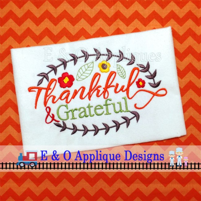 Thankful and Grateful Digital Embroidery Design