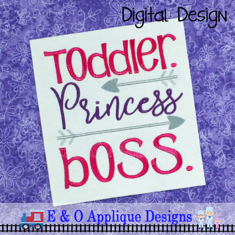 Toddler Princess Boss Embroidery Design