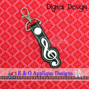 Treble Clef Snap Tab ITH Digital Embroidery Design