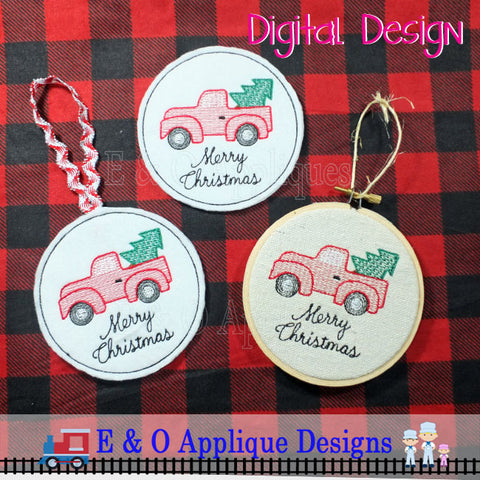 ITH Coaster and Ornament Christmas Truck