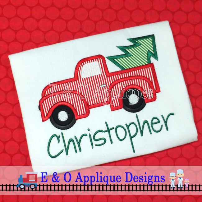 Christmas Truck with Tree Applique Design