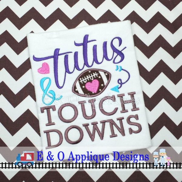 Tutus and Touchdown Football Digital Embroidery Design