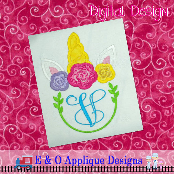 Unicorn Monogram Frame Applique