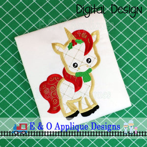 Christmas Unicorn Applique Design