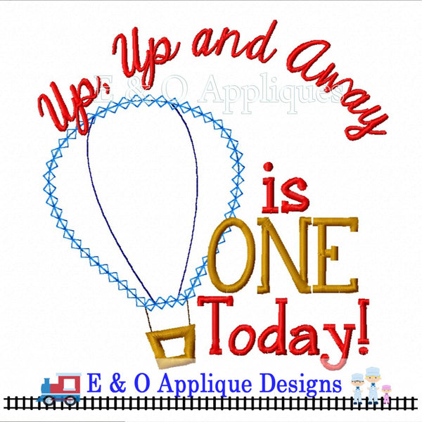 Up Up And Away Hot Air Balloon Digital Applique Design