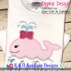 Whale Girl Zig Zag Applique