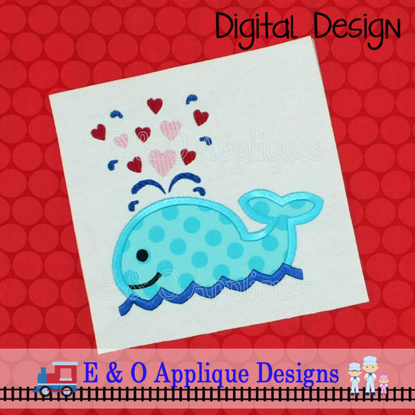 Whale Valentine Applique Design