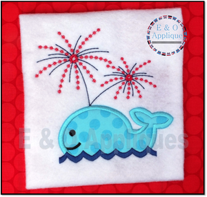 Whale Fireworks Applique Design