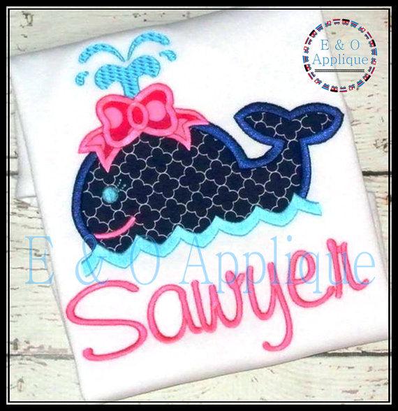 Whale Girl Applique Design