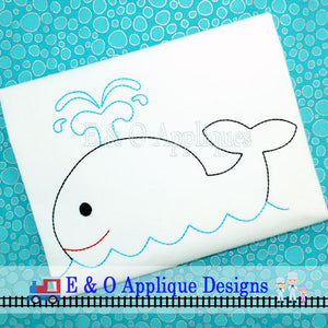 Whale Redwork Embroidery Design