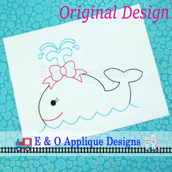 Whale Redwork Set Embroidery Design