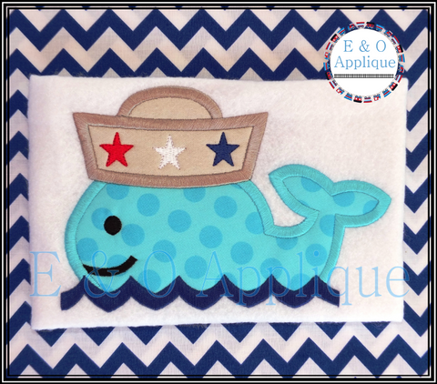 Whale Sailor Applique Design