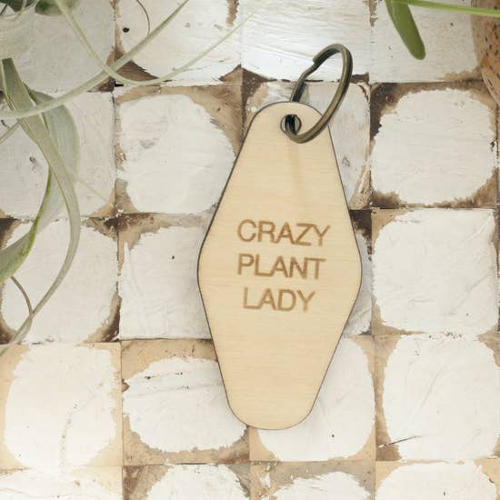 Retro Wood Keychain - Crazy Plant Lady