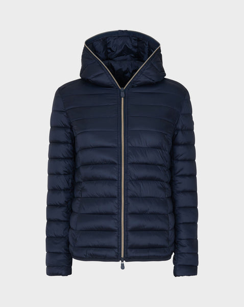 Iris Hooded Jacket in Blue Black