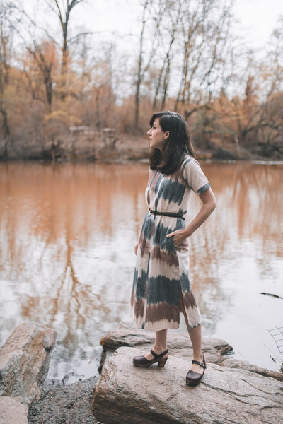 Handwoven Cotton Ikat Waverly Midi Dress