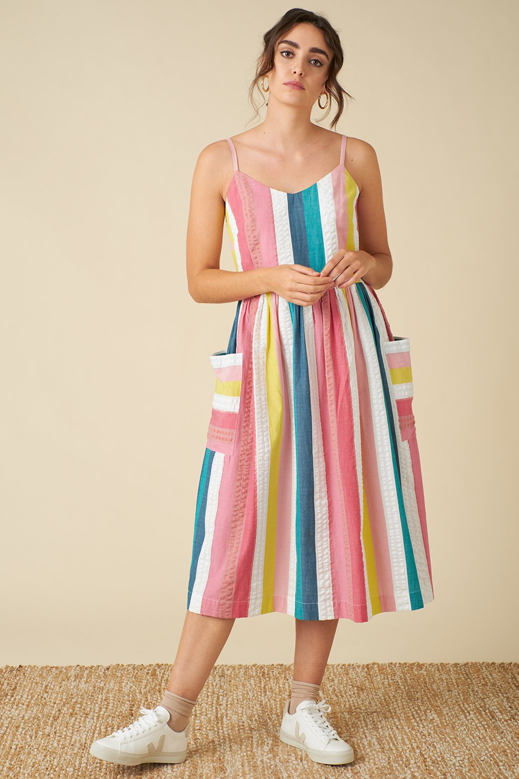 Bree Dress - Summer Rainbow Stripe