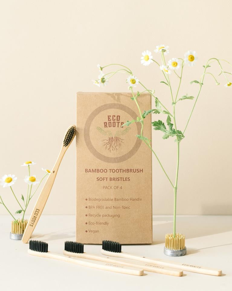 Natural Bamboo Toothbrush - Set of 4