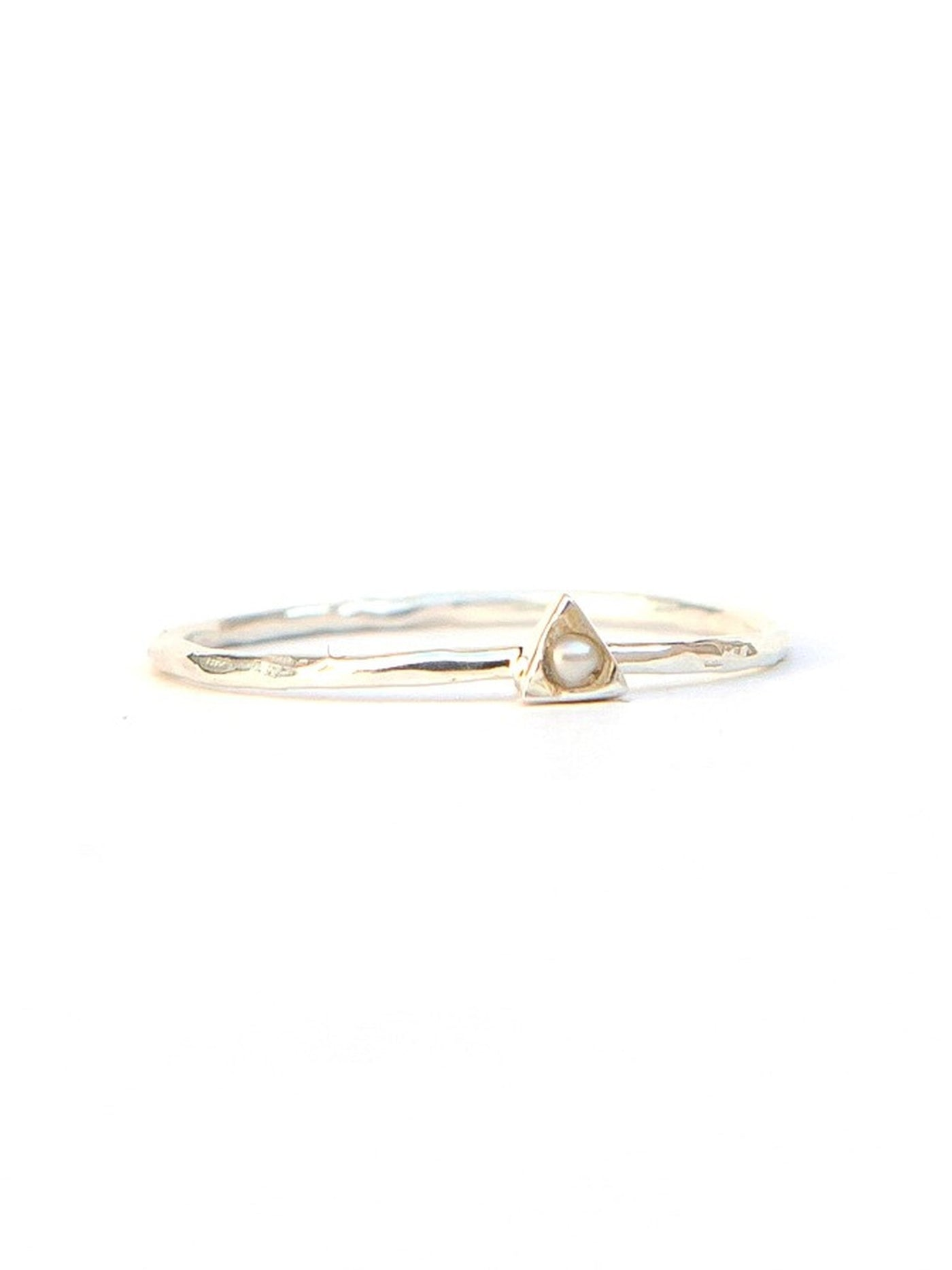 Tiny Triangle Sterling Ring - Pearl