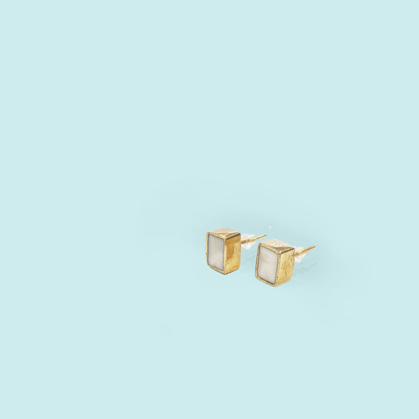Rectangle Stud - White