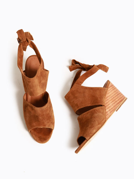 Estefani Wedge Deep Brown Suede