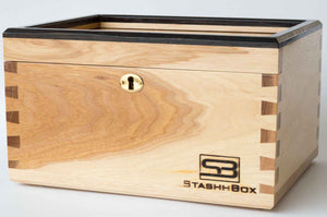 The Daily Toker | 3-Strain Hickory Stash Box W/ Black Wenge Trim | Lock | Wood Weed Box | StashhBox