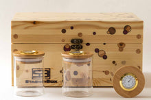 Load image into Gallery viewer, Pine StashhBox 2.0 with exotic hardwood dot inlays and StashhJars on display