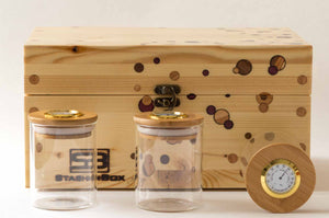 Pine StashhBox 2.0 with exotic hardwood dot inlays and StashhJars on display