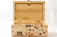 Load image into Gallery viewer, Opened pine StashhBox with exotic wood inlays and magnetic rolling tray on display